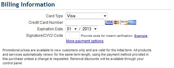 Create a website billing information of bluehost